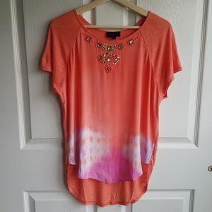 Hale Bob Coral Tie Dye Autumn Silk Blouse Size XS